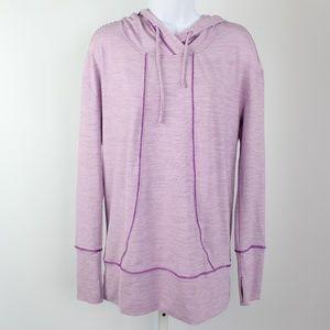 Zella purple white stripe hoodie pullover